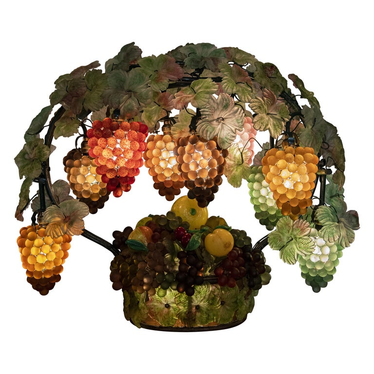 Large Murano Colorful Grape and Leaf Glass Table Lamp For Sale