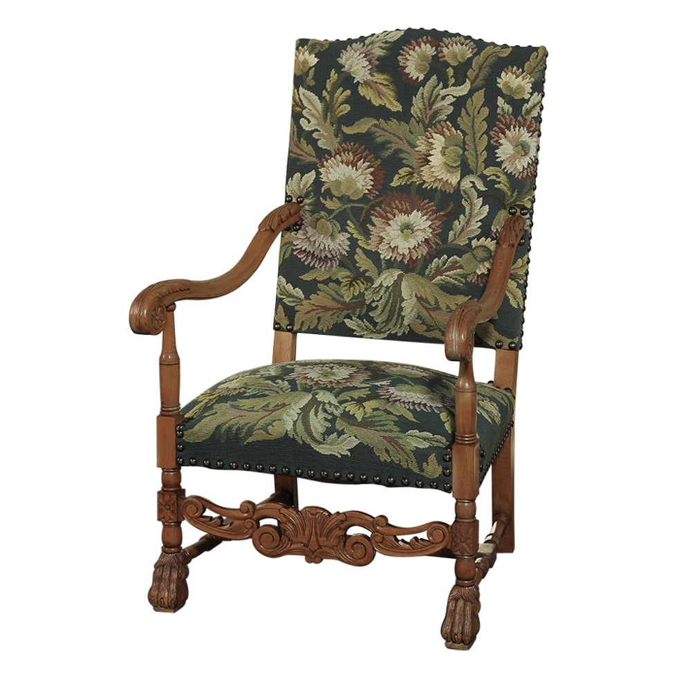 19th Century French Louis XIV Applewood Tapestry Armchair