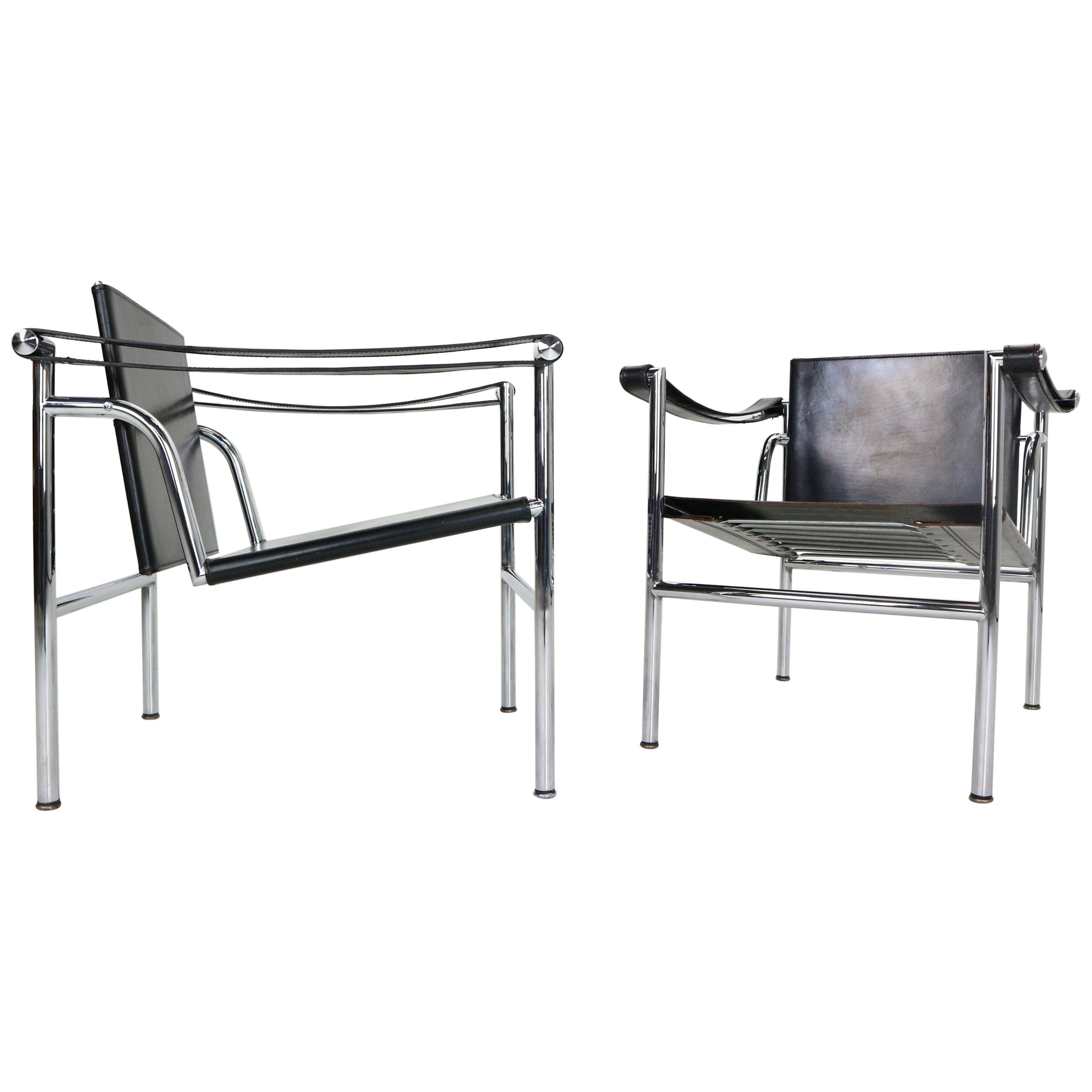 Le Corbusier Set of 2 Black Leather Armchairs Model- LC1 for Cassina, 1970s