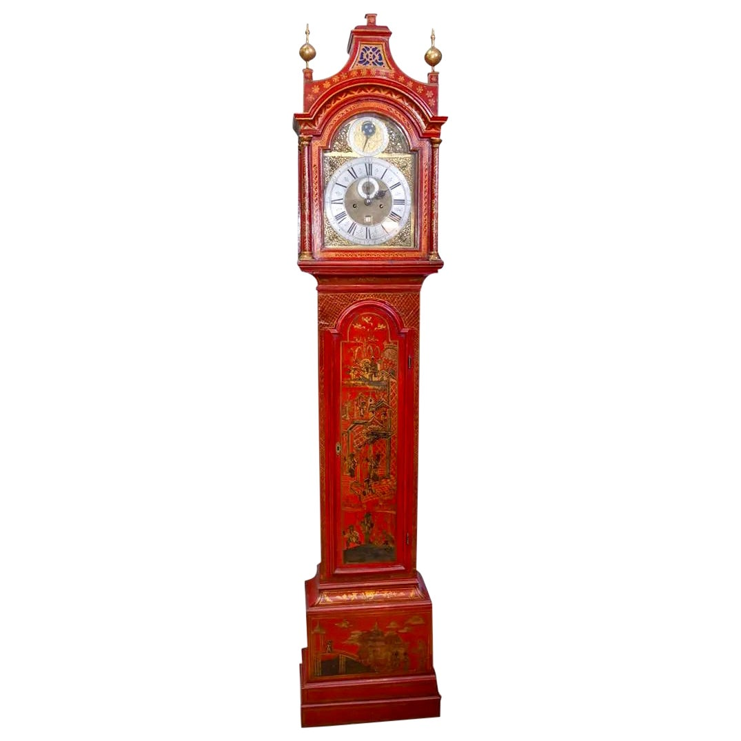 18th Century English Red Lacquered Chinoiserie Tall Case Clock