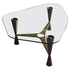 Edward Wormley Model 5309 Brass, Walnut & Glass Coffee Table by Dunbar, USA 1955