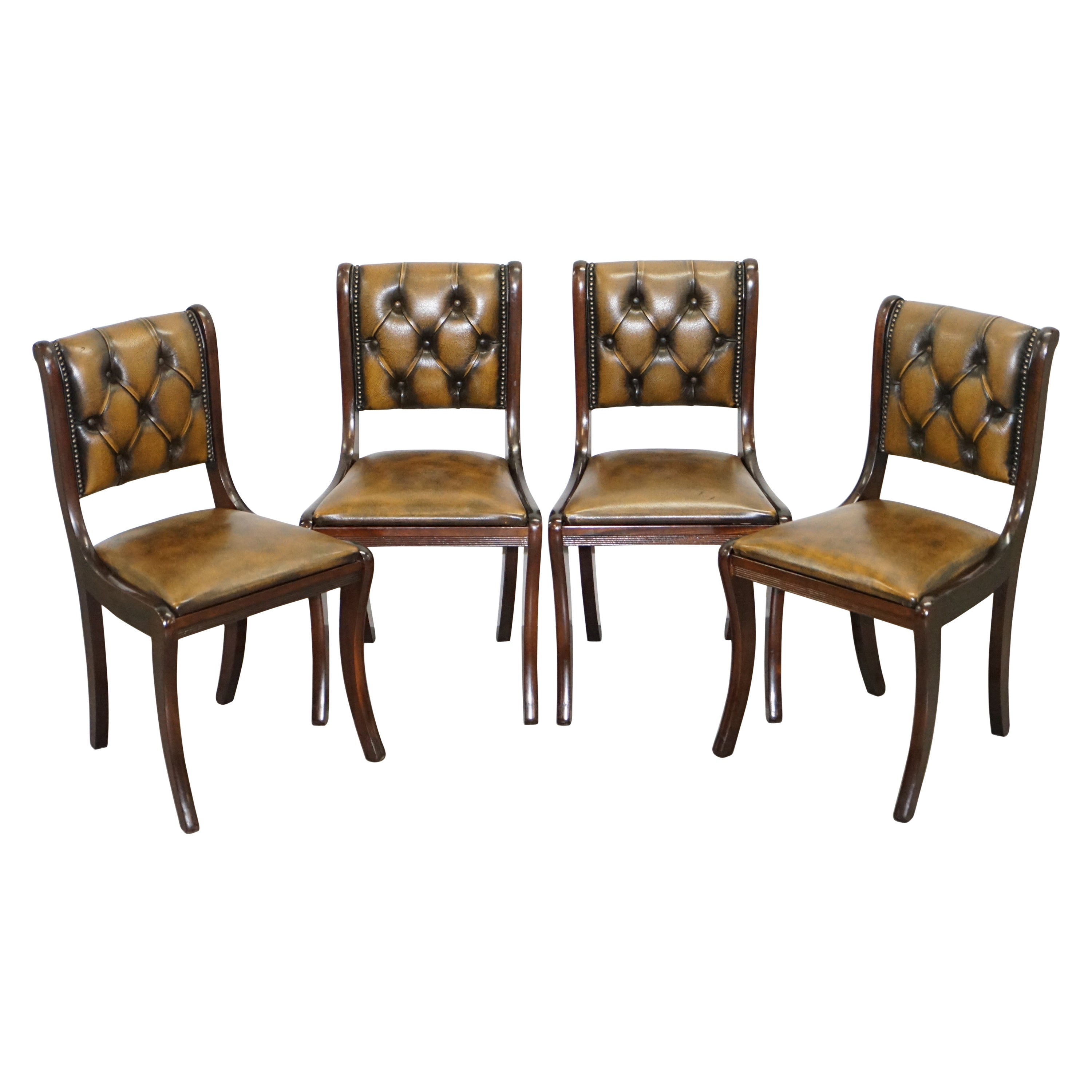 Suite of Four Aged Pretol Brown Leather & Mahogany Chesterfield Dining Chairs 4