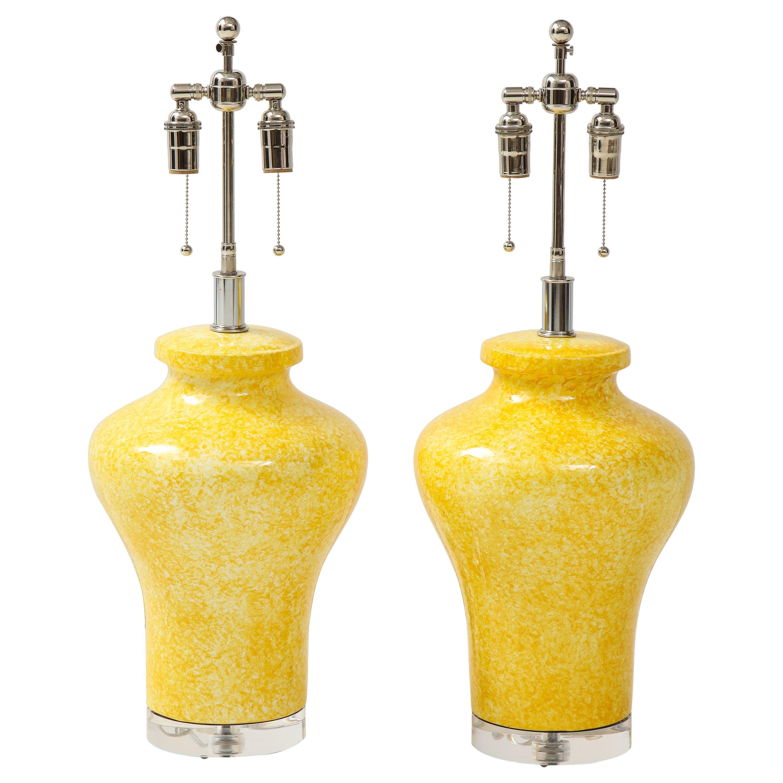 Pair of Paul Hanson Canary Yellow Lamps