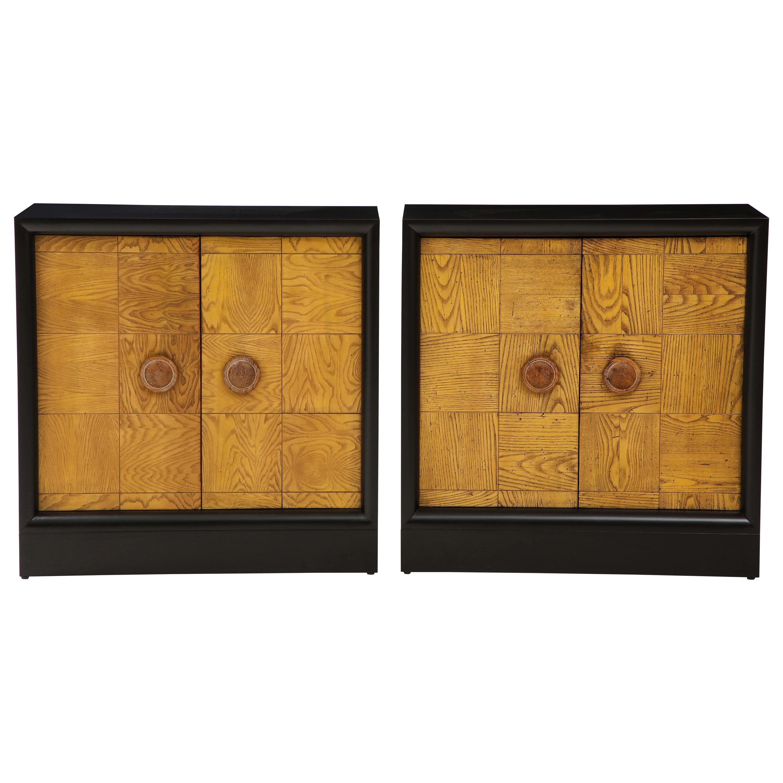 Pair of James Mont Oak Front Cabinets