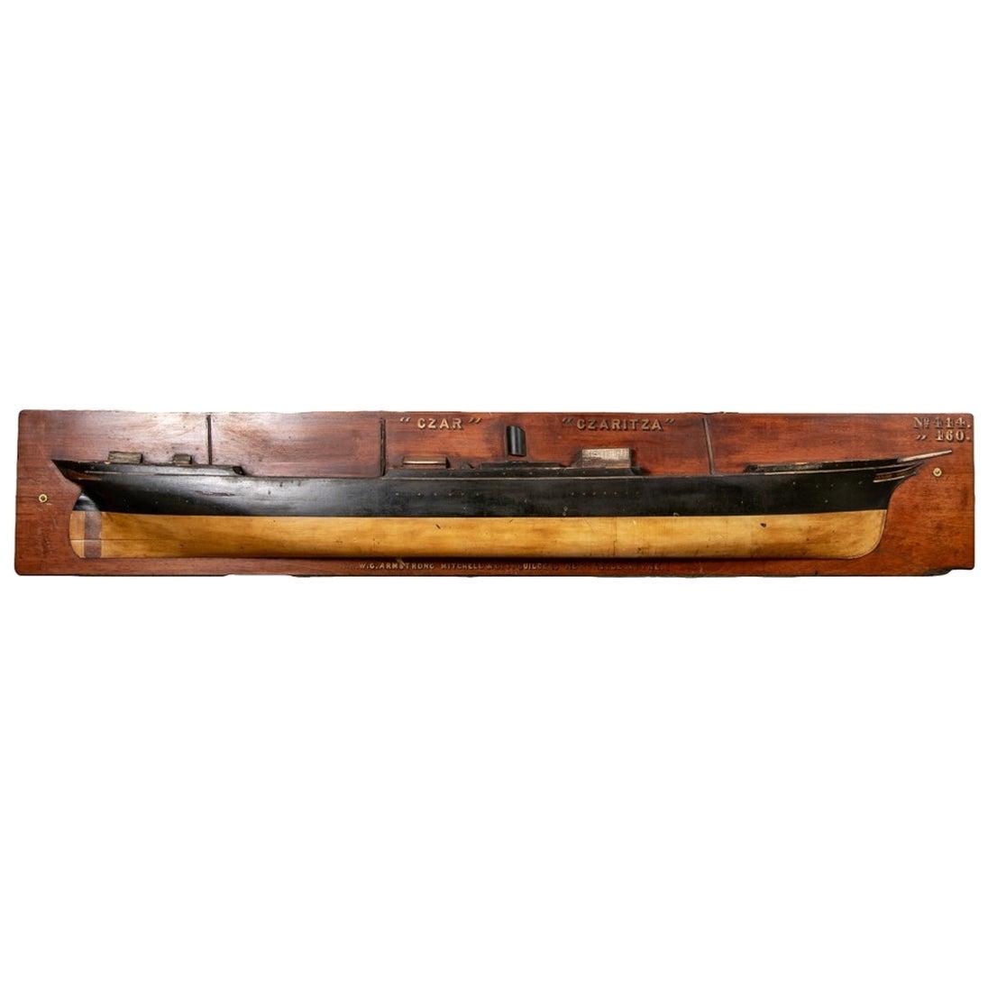Massive Antique Half Hull Ship Model