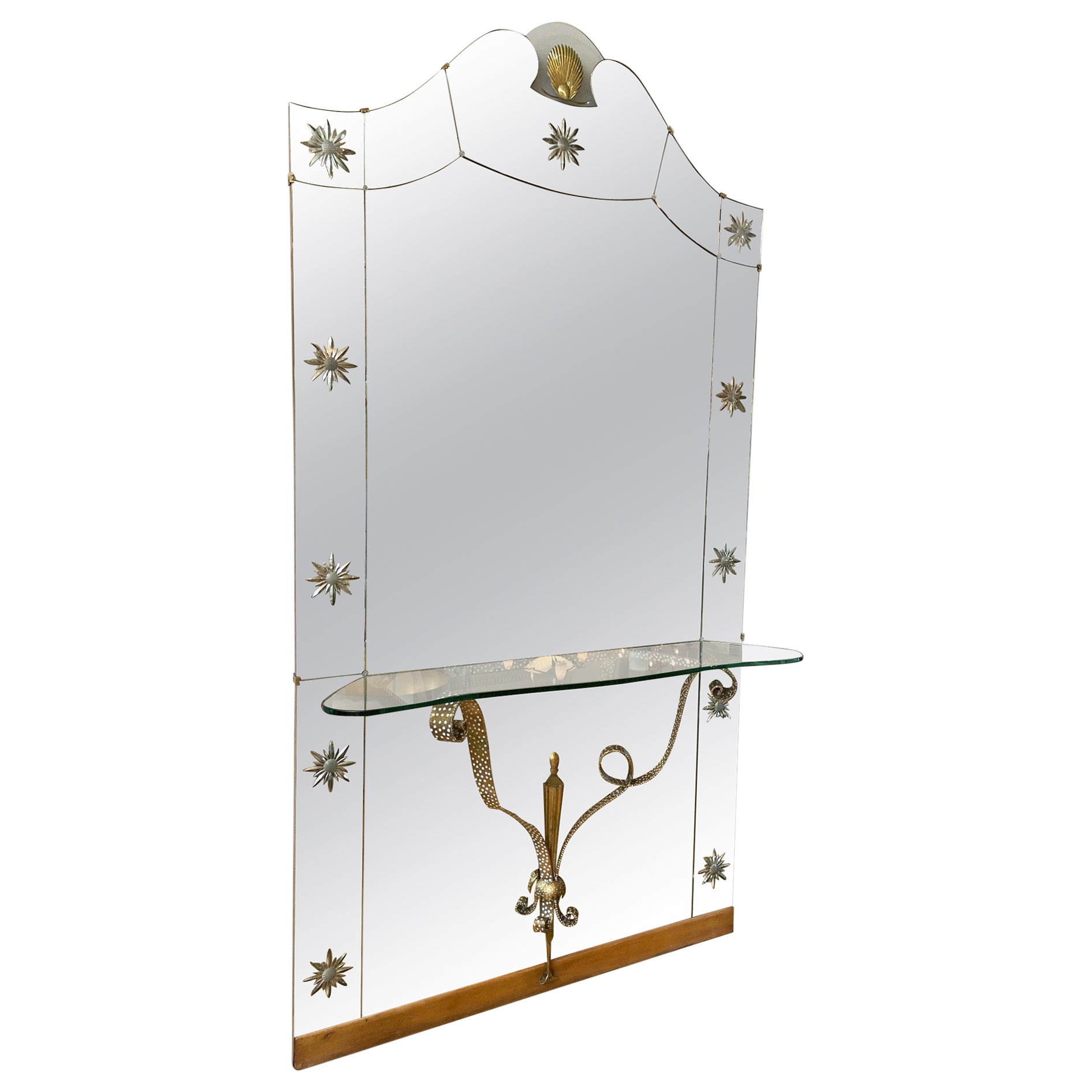 Mid-Century Modern Italian Mirror with Console by Pier Luigi Colli