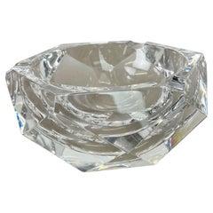 "Heavy 1,4kg Crystal ""Diamond"" Glass Ashtray by Val Saint Lambert, Belgium, 1970s"