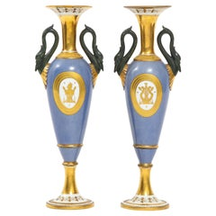 Pair of French 19th Century Old Paris Porcelain Swan Handle Vases, Marked