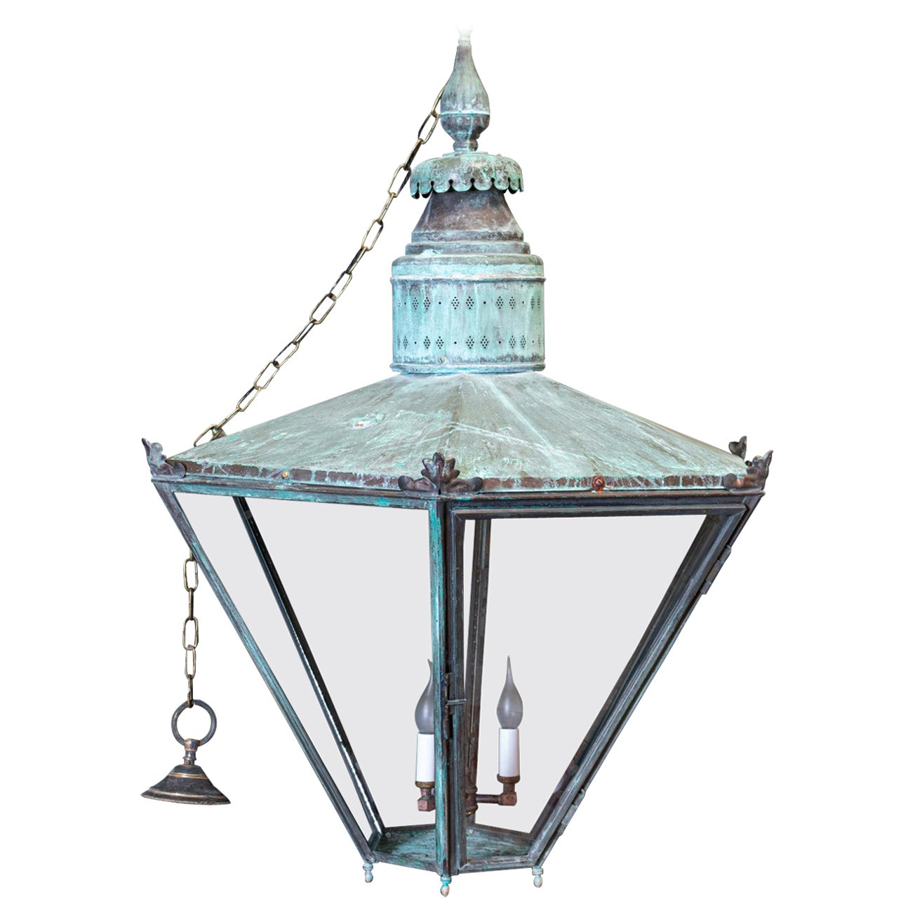 19thC English Oversized Hexagonal Verdigris Statement Lantern
