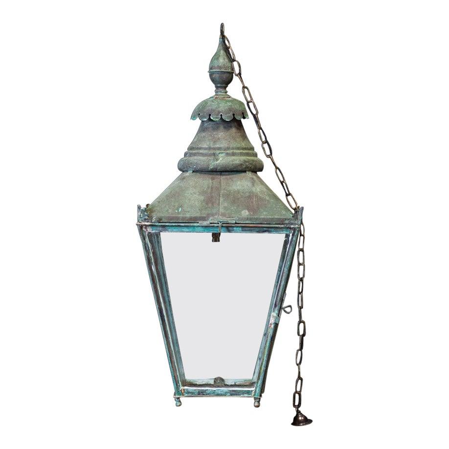 Large English 19thC Verdigris Lantern