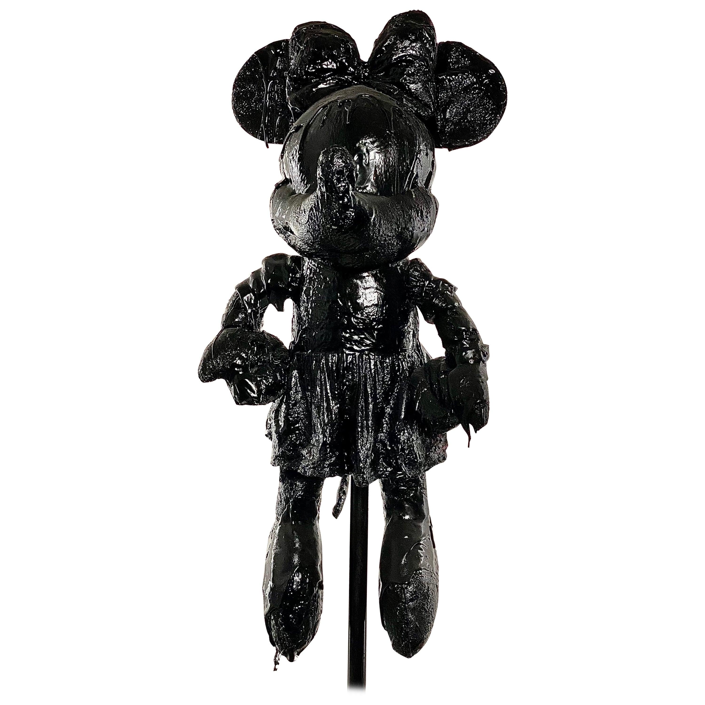 Black TAR Minnie Mouse Sculpture, 21st Century by Mattia Biagi