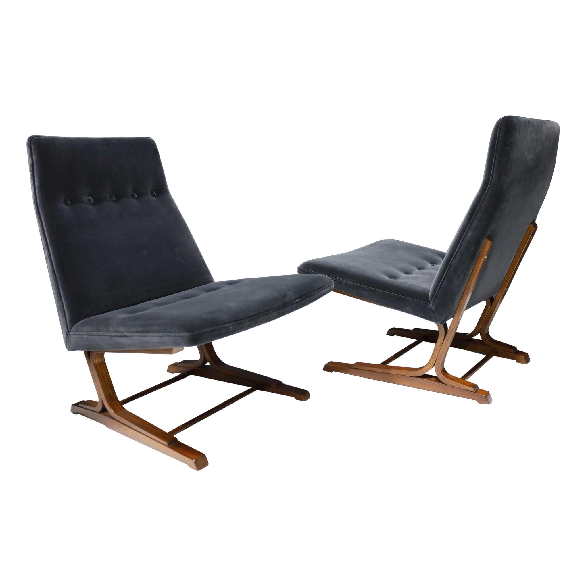 Pair of Roger Sprunger for Dunbar Cantilevered Chairs in Blue Velvet