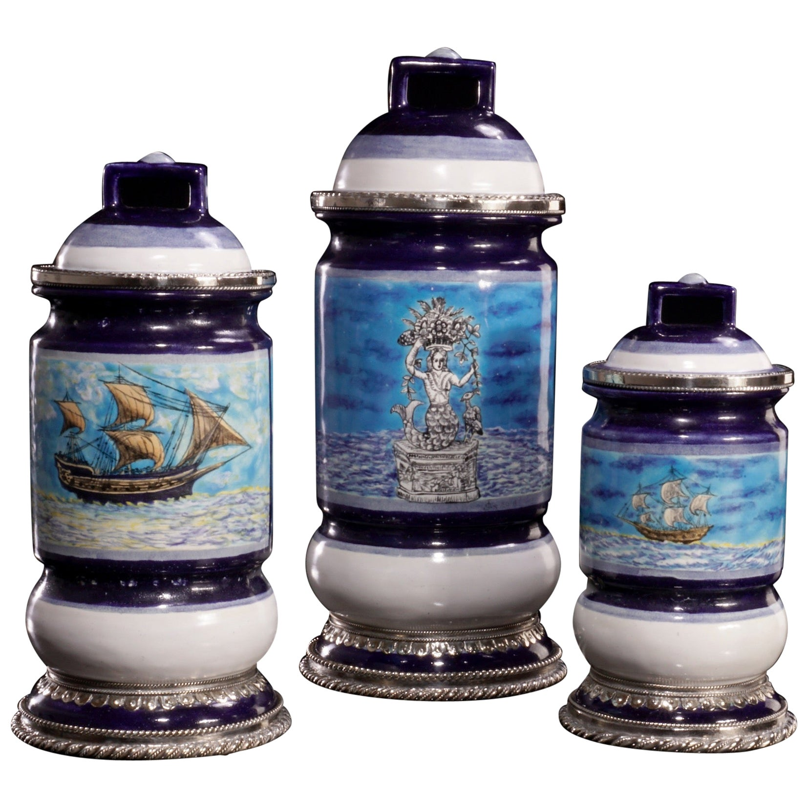 Ceramic and White Metal 'Alpaca' Jar with Hand Painted Motives Set