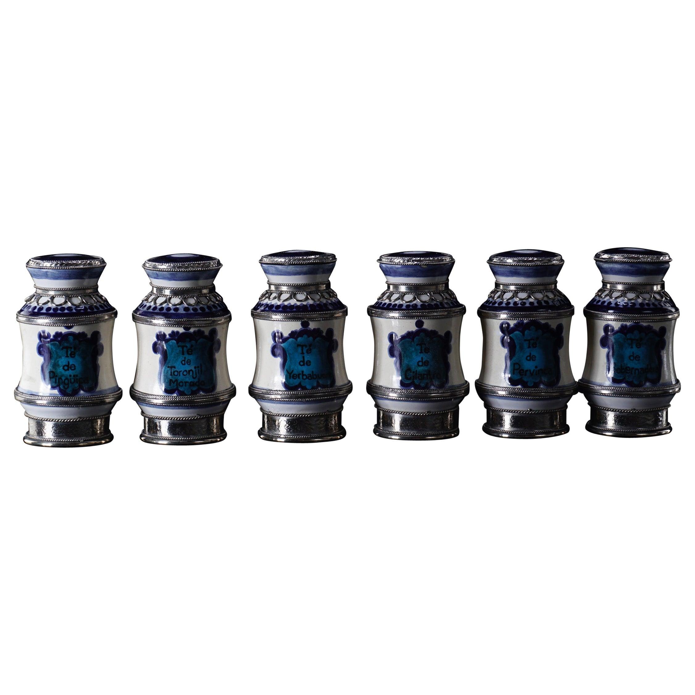 Ceramic and White Metal 'Alpaca' Set of 6 Pharmacy Jars