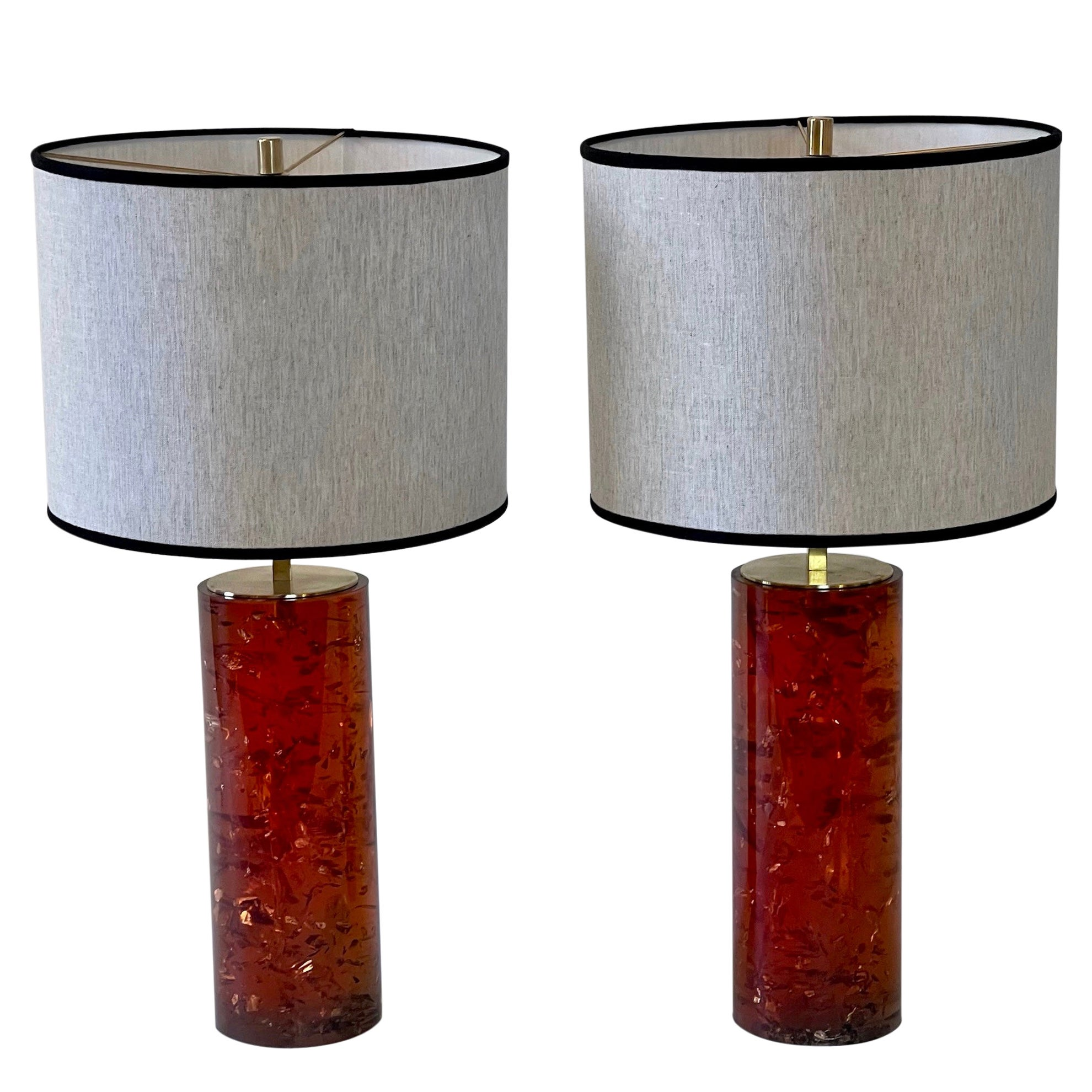 Pair of Italian Reddish Amber Fractal Resin Table Lamps w/Brass Details & Shades