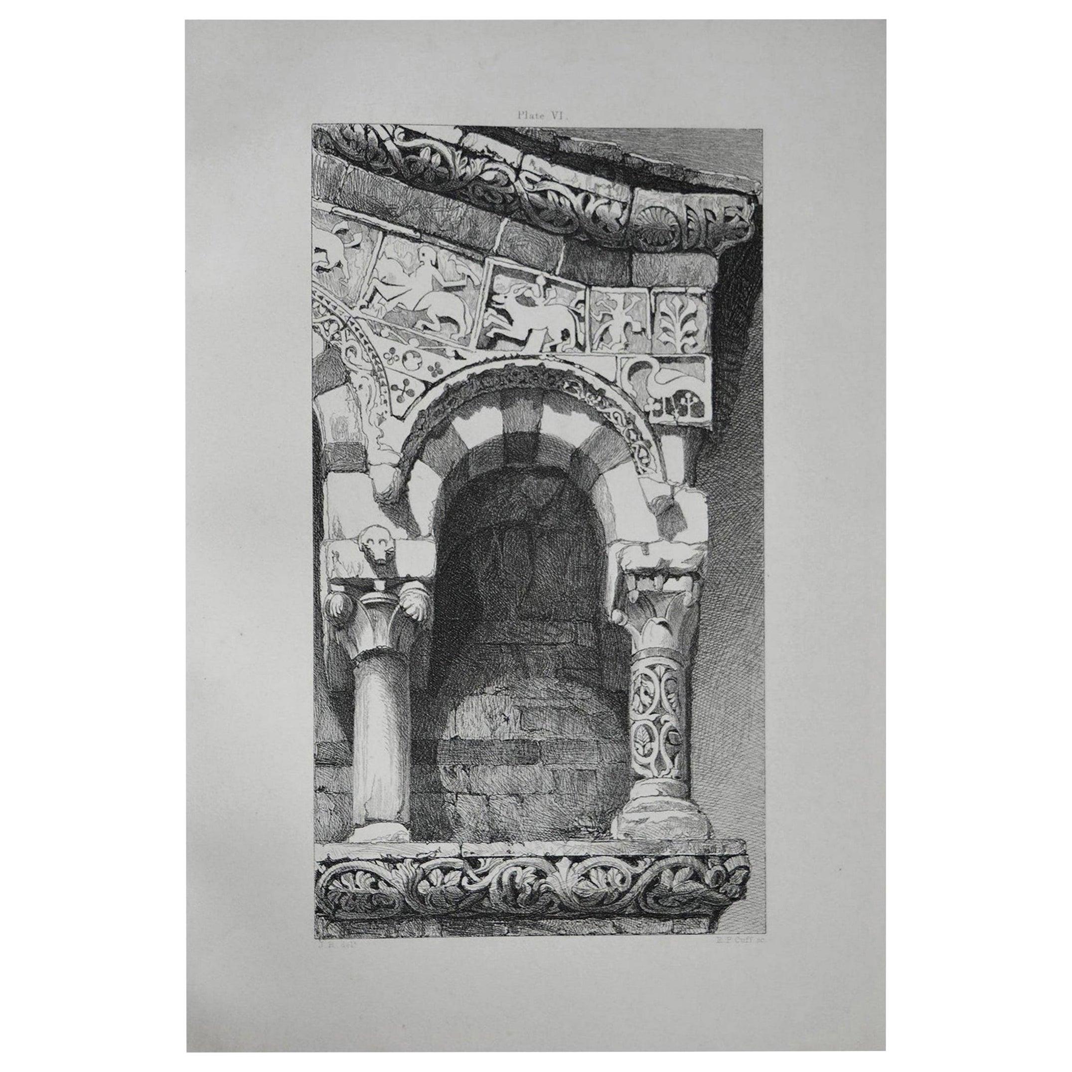 Original Antique Architectural Print by John Ruskin, circa 1880, 'Lucca'