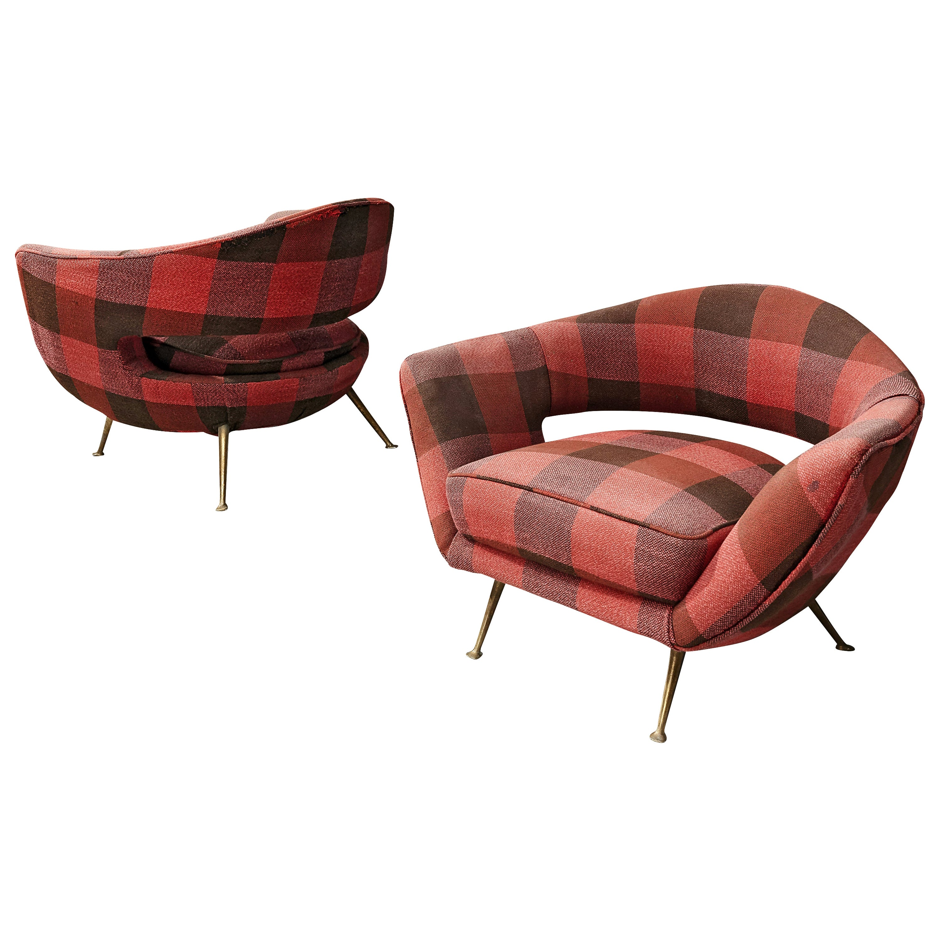 Pair of Italian Lounge Chairs in Checkered Upholstery
