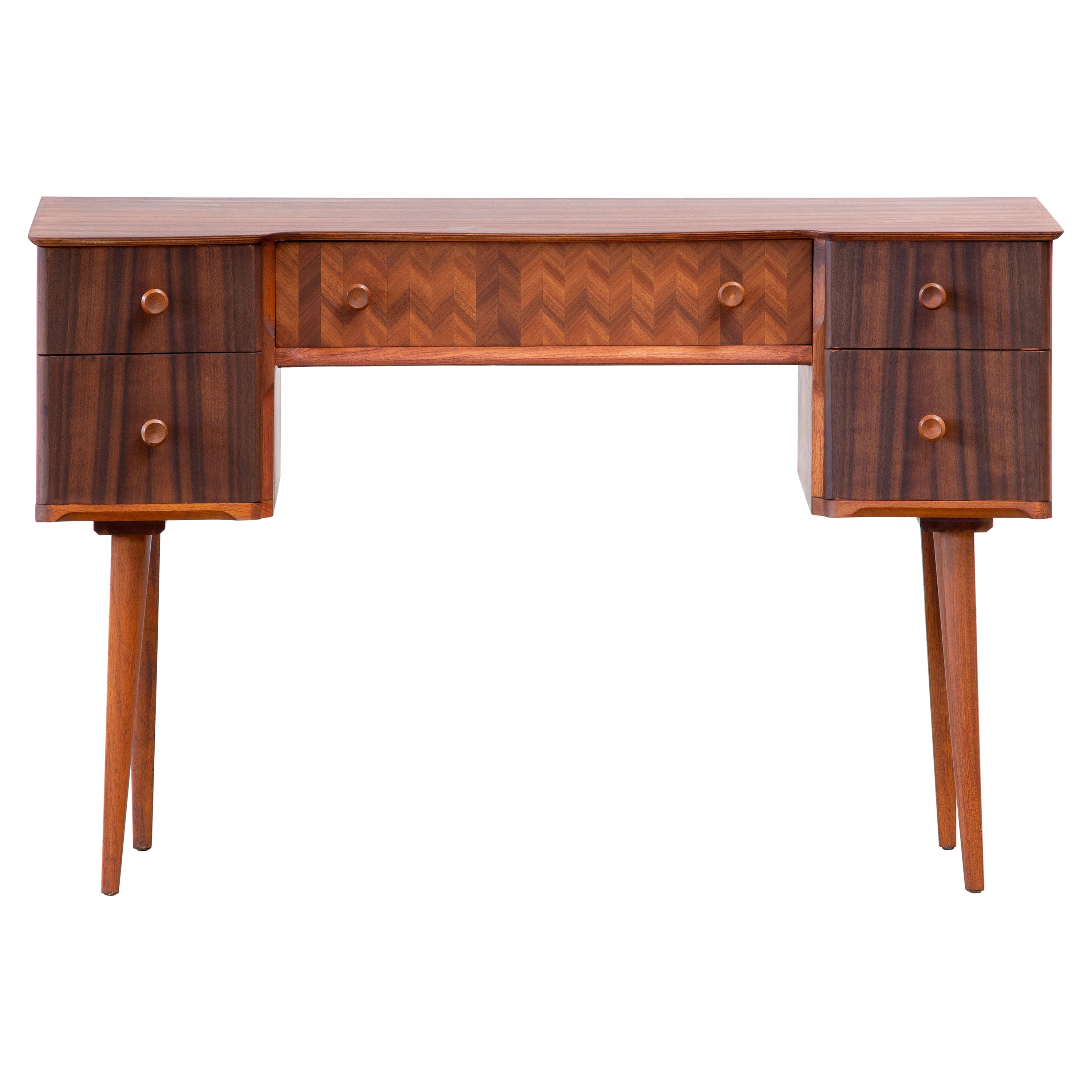 1950s Teak and Walnut Writing Desk with Marquetry