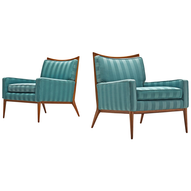Paul McCobb Walnut Lounge Chairs in Original Fabric