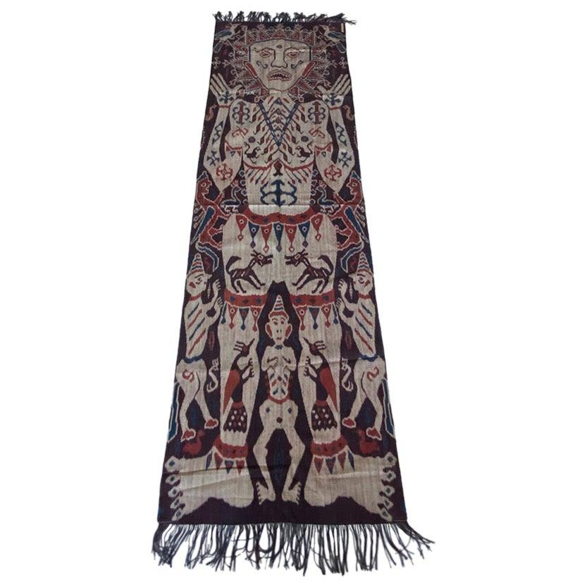 Andrianna Shamaris Antique Sumba Hinggi Hip Cloth with a Suede Border