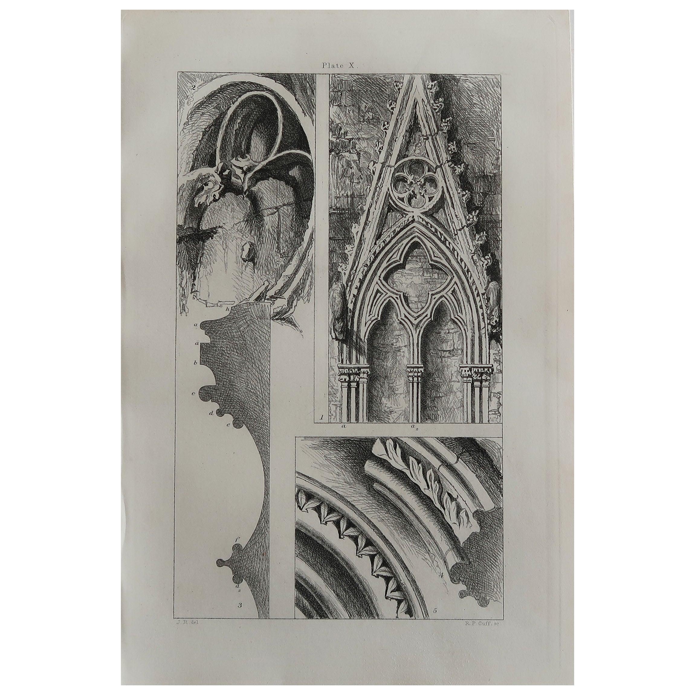 Original Antique Architectural Print by John Ruskin circa 1880 'Salisbury'
