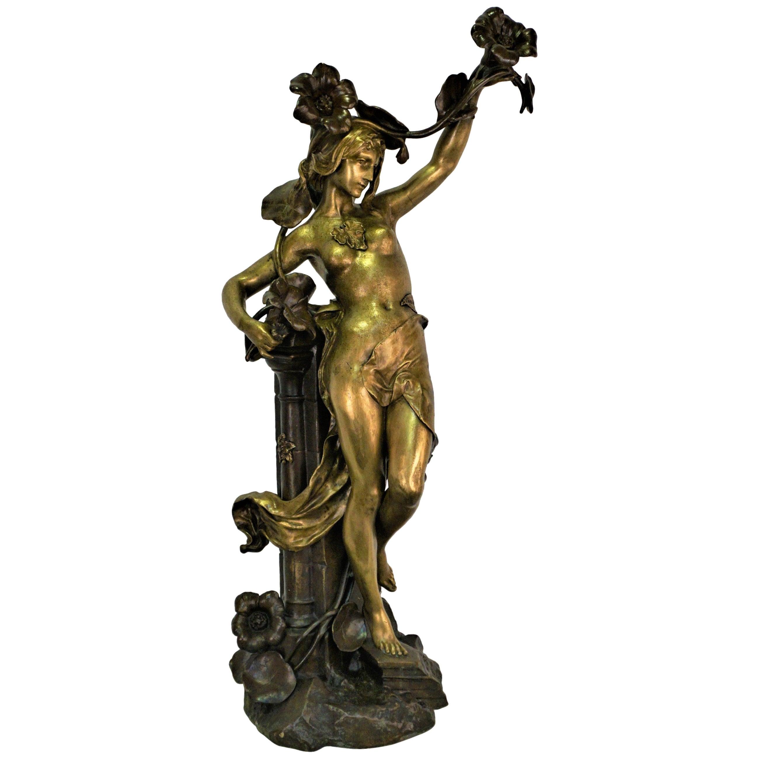 French Art Nouveau Bronze Sculpture of Nude Woman