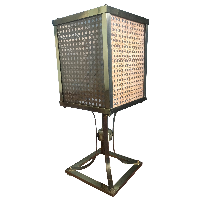 "Mid-Century Modern Italian Brass Table Lamp with ""Vienna"" Straw Lampshade, 1970s"