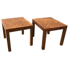 A Pair of Italian Walnut Parquet Parson Side Tables, Circa 1970's