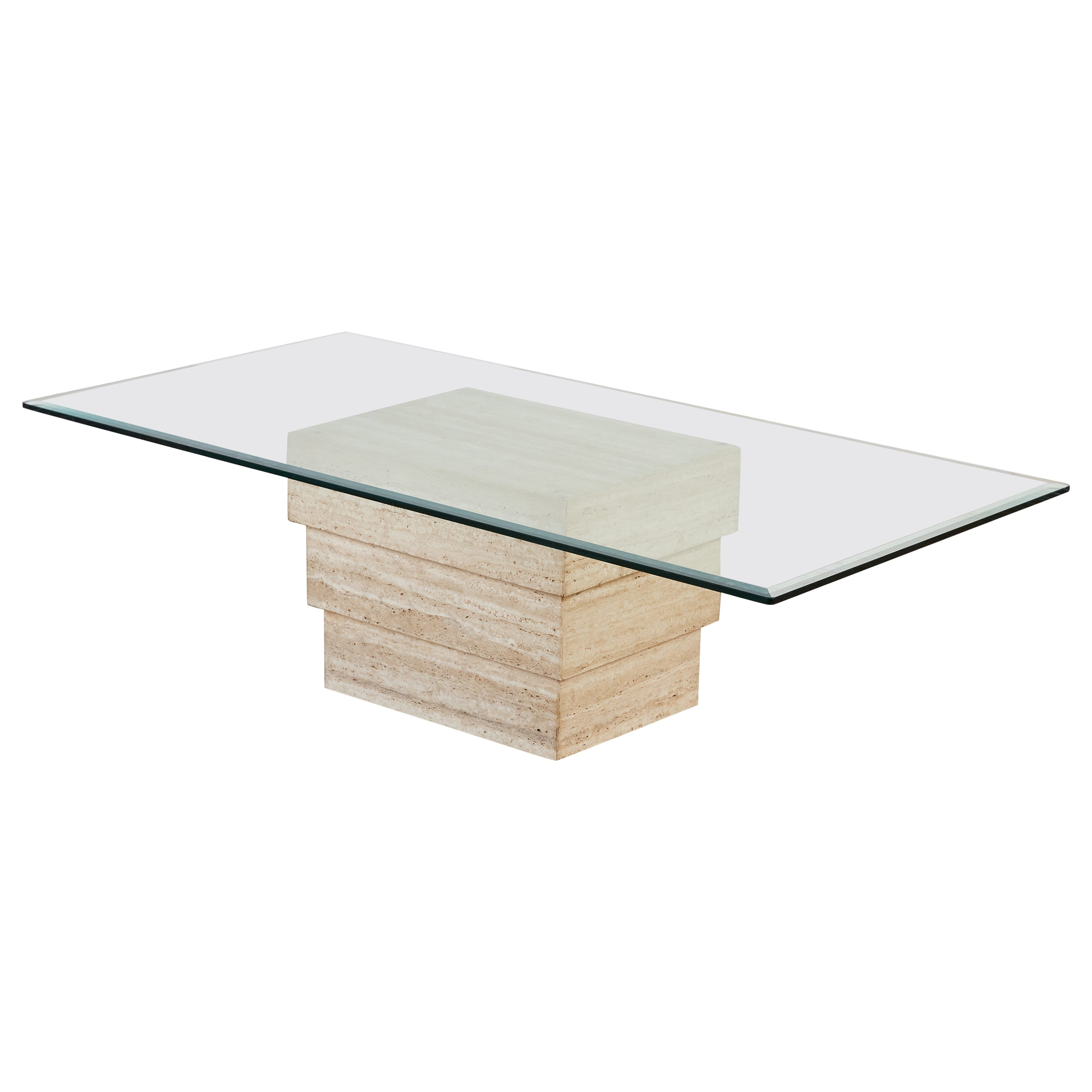 Travertine Coffee Table with Glass Top