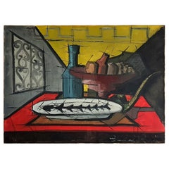 Still Life Dining Table Scene in the Manner of Bernard Buffet