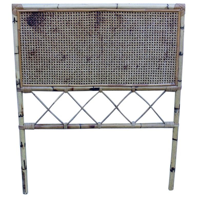 Mid-Century Italian Design Bamboo Bed for Single Mattress, 1950s