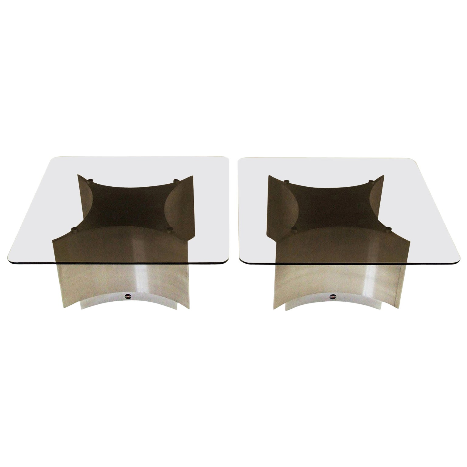 Pair of 1970s Coffee Tables by Ringo Starr for ROR Aluminum, Chrome and Glass