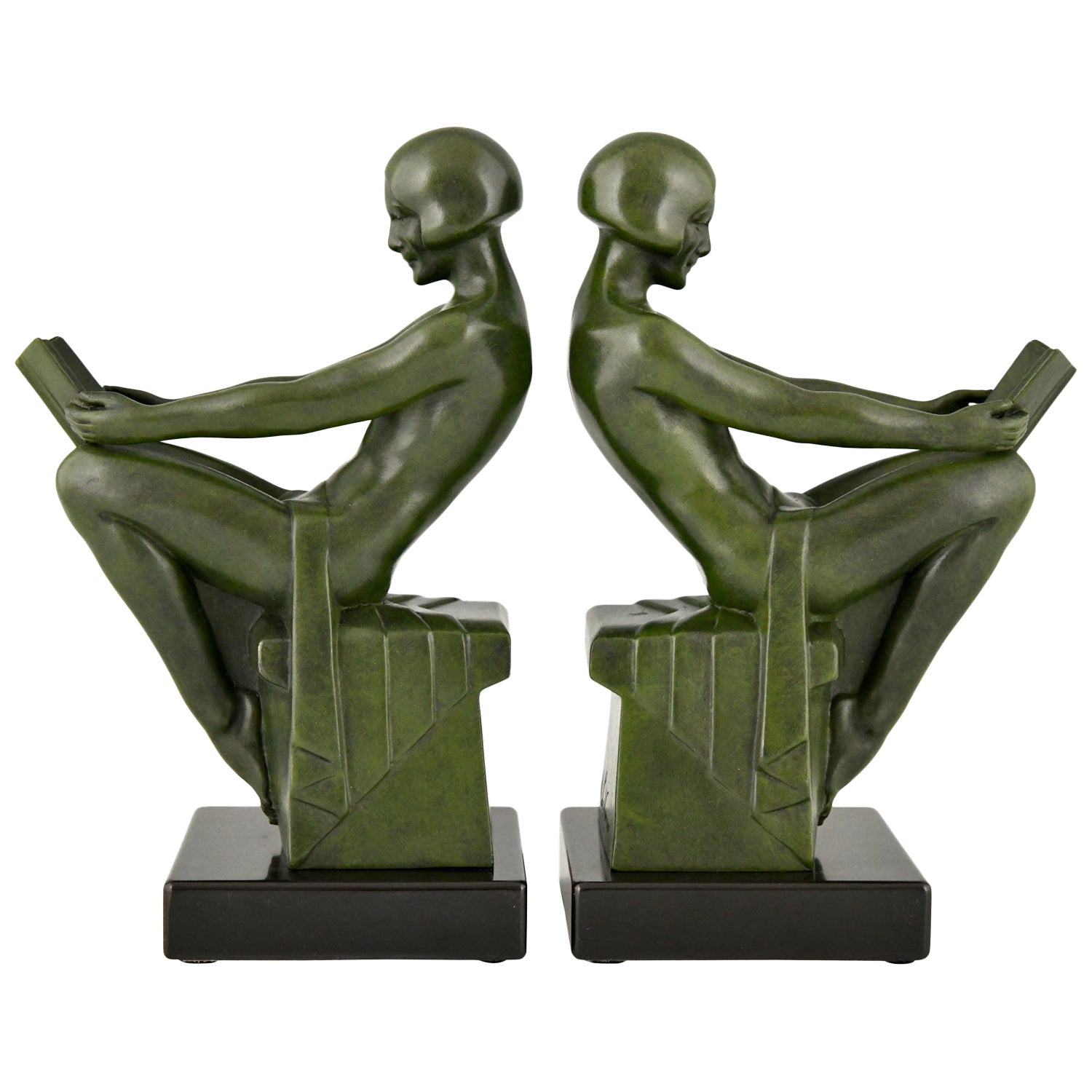 Art Deco Bookends with Reading Nudes Max Le Verrier, France, 1930
