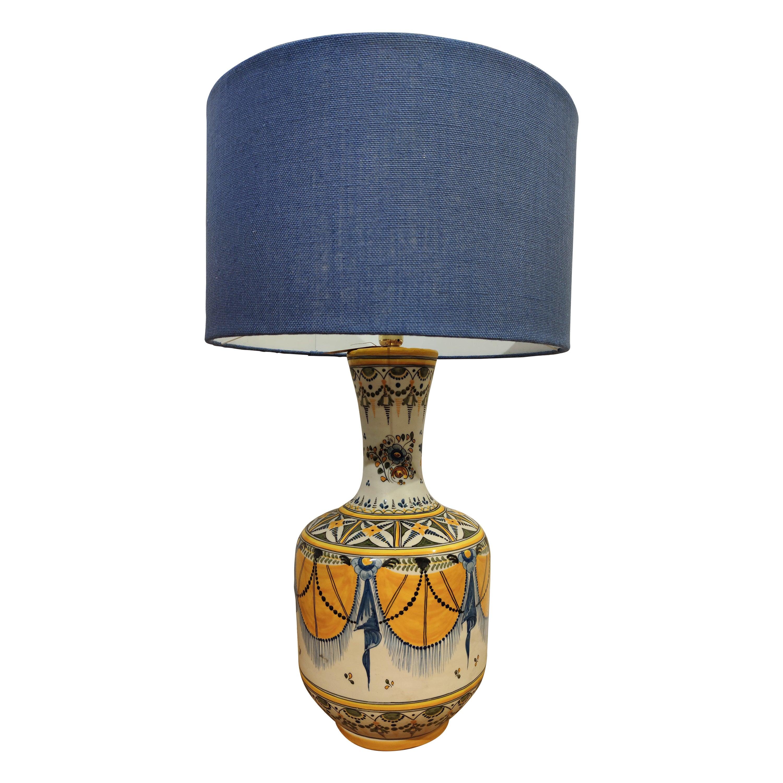 1950s Spanish Hand Painted Ceramic Table Lamp