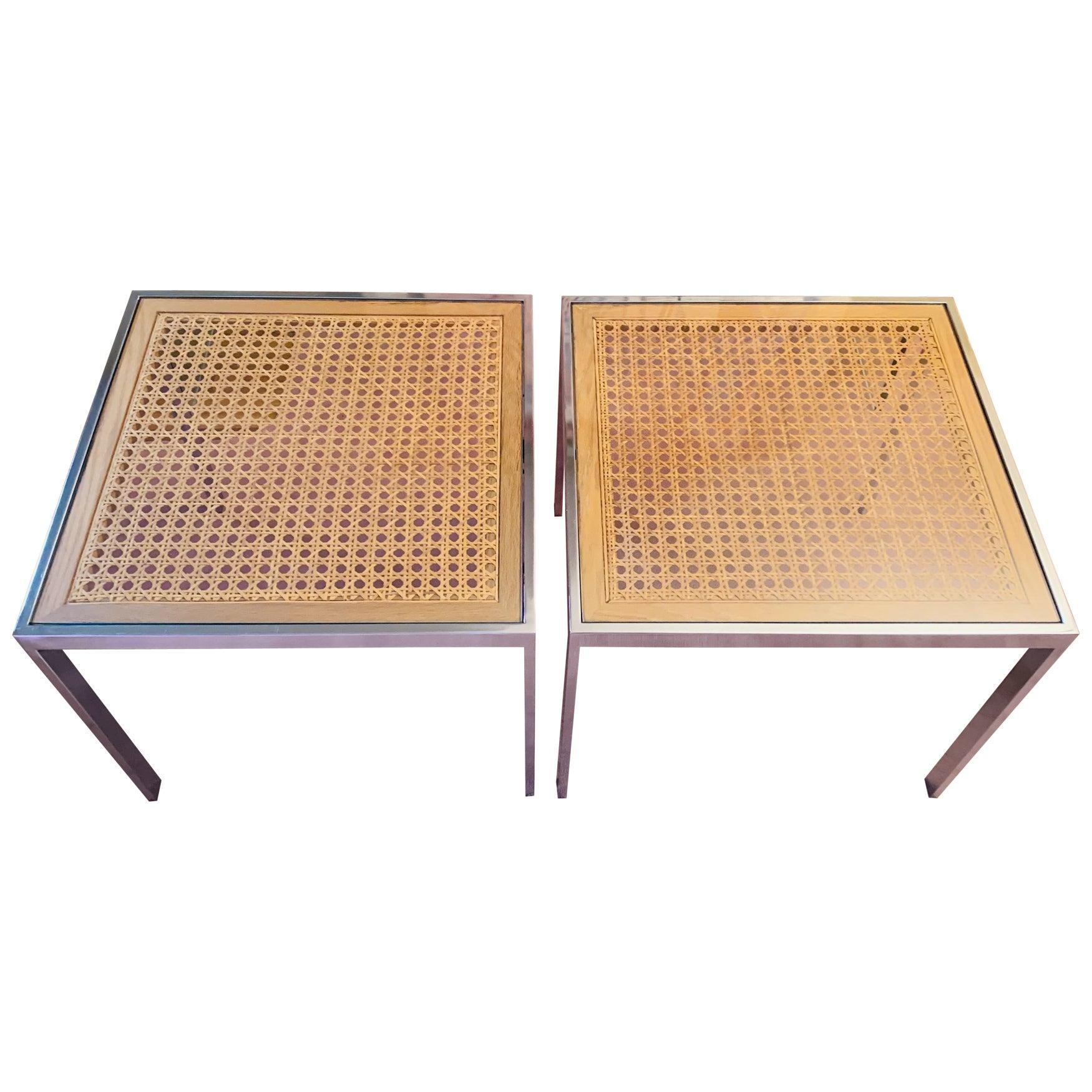 Modern Chrome and Cane Milo Baughman Style Side Tables, a Pair