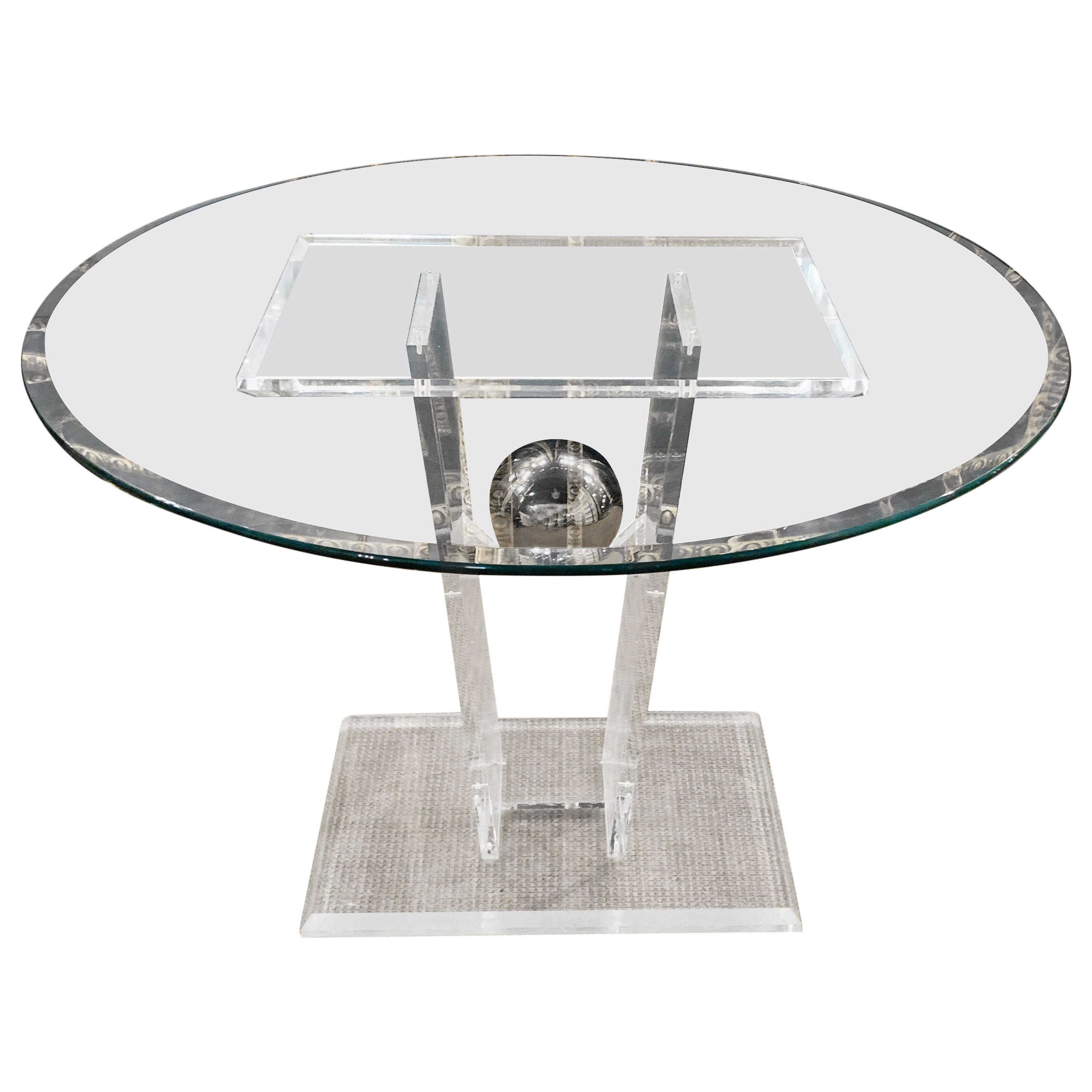 High Quality Acrylic Dining Table with Round Glass Top