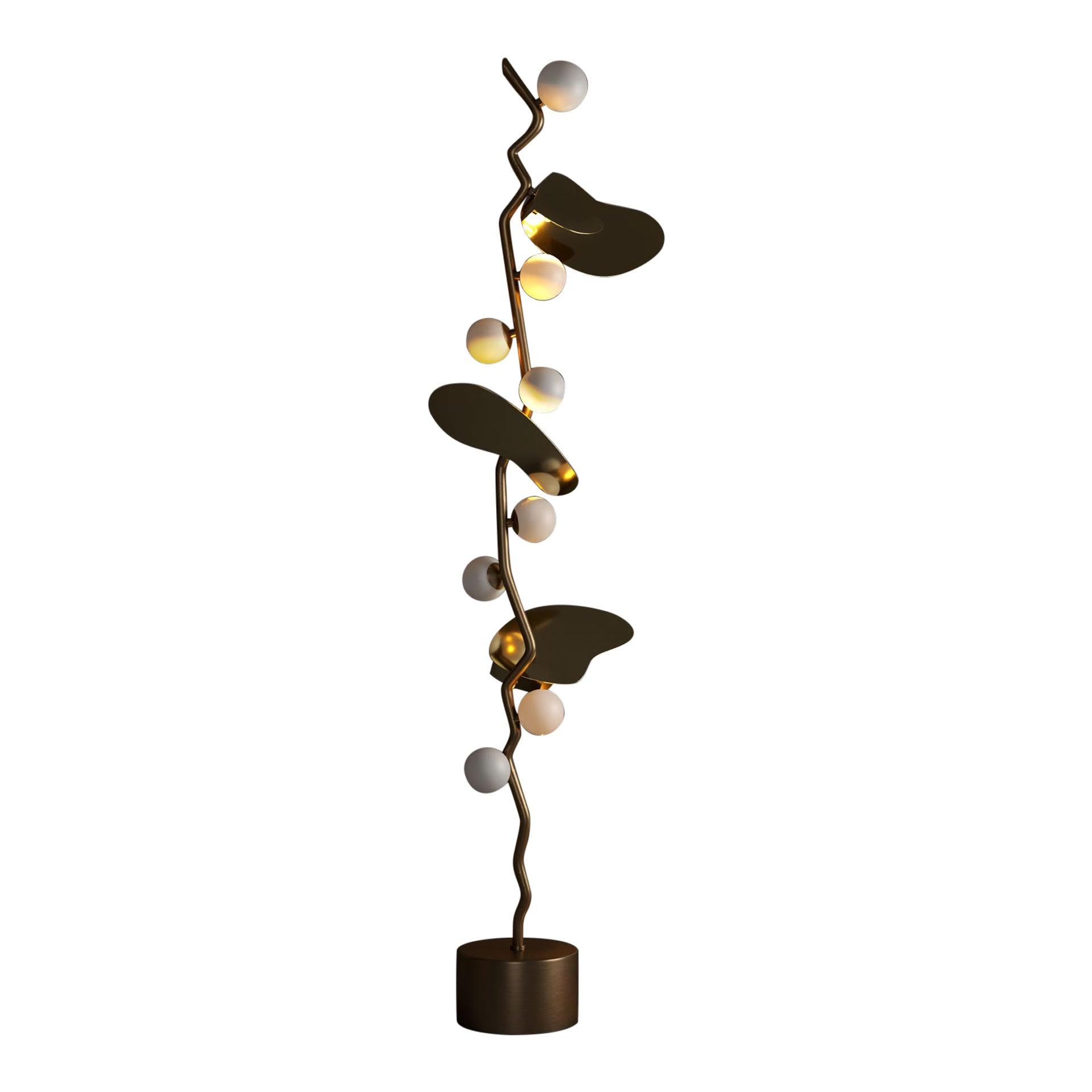 21st Century Almond Floor Lamp Brass