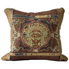 Rich Continental Appliqué and Embroidered Silk Velvet Pillow