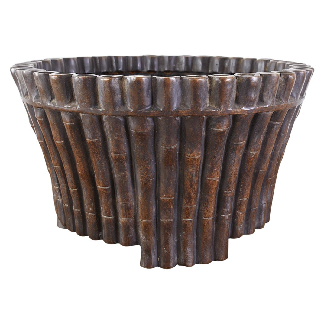 Bronze Faux Bamboo Garden Jardiniere Planters