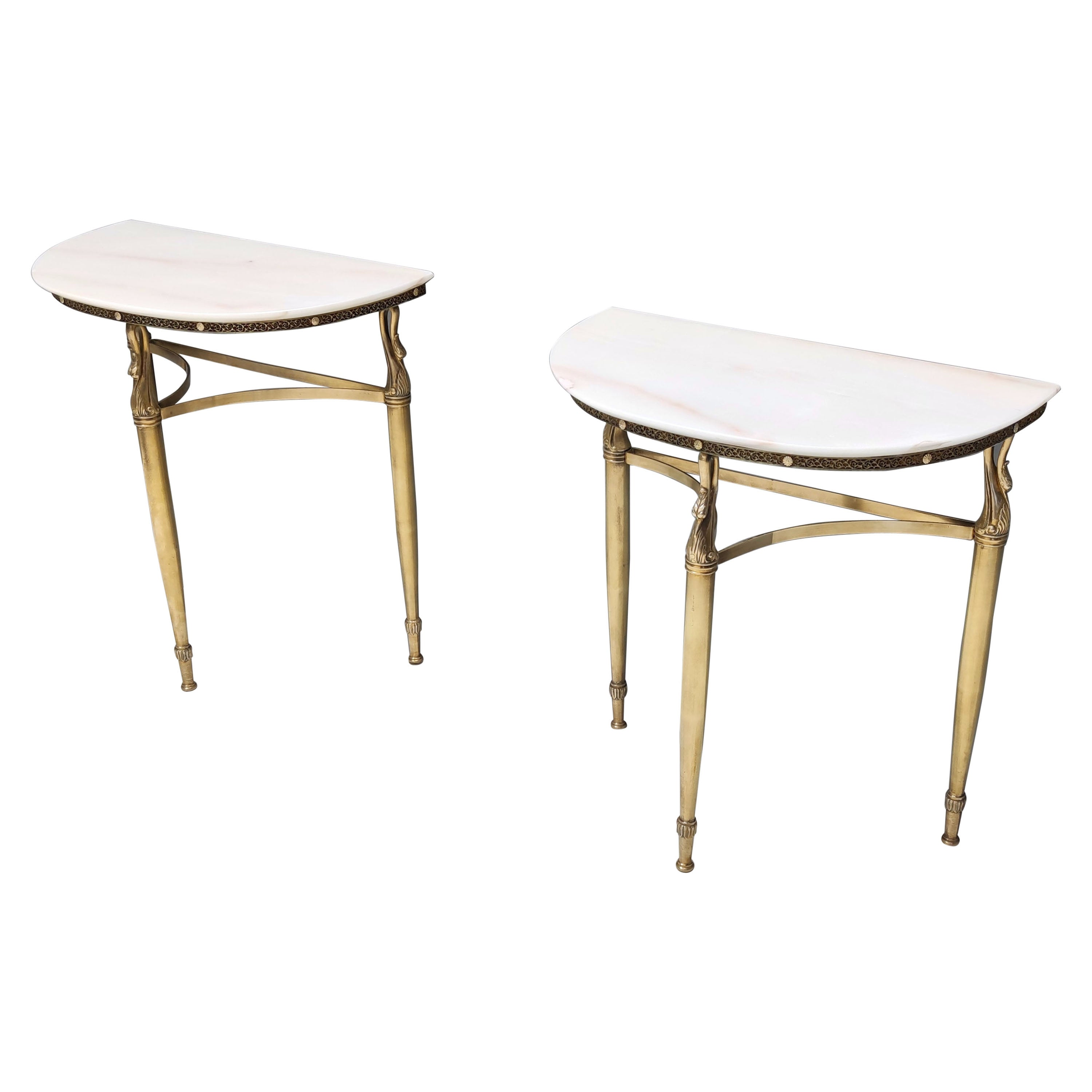 Pair of Nightstands / Console Tables with Marble Tops and Brass Legs, Italy