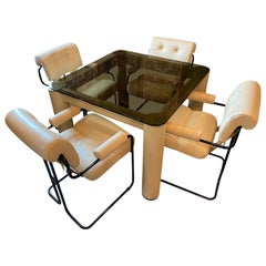 Tucroma Game Table and Four Chairs, Italy, 1970's