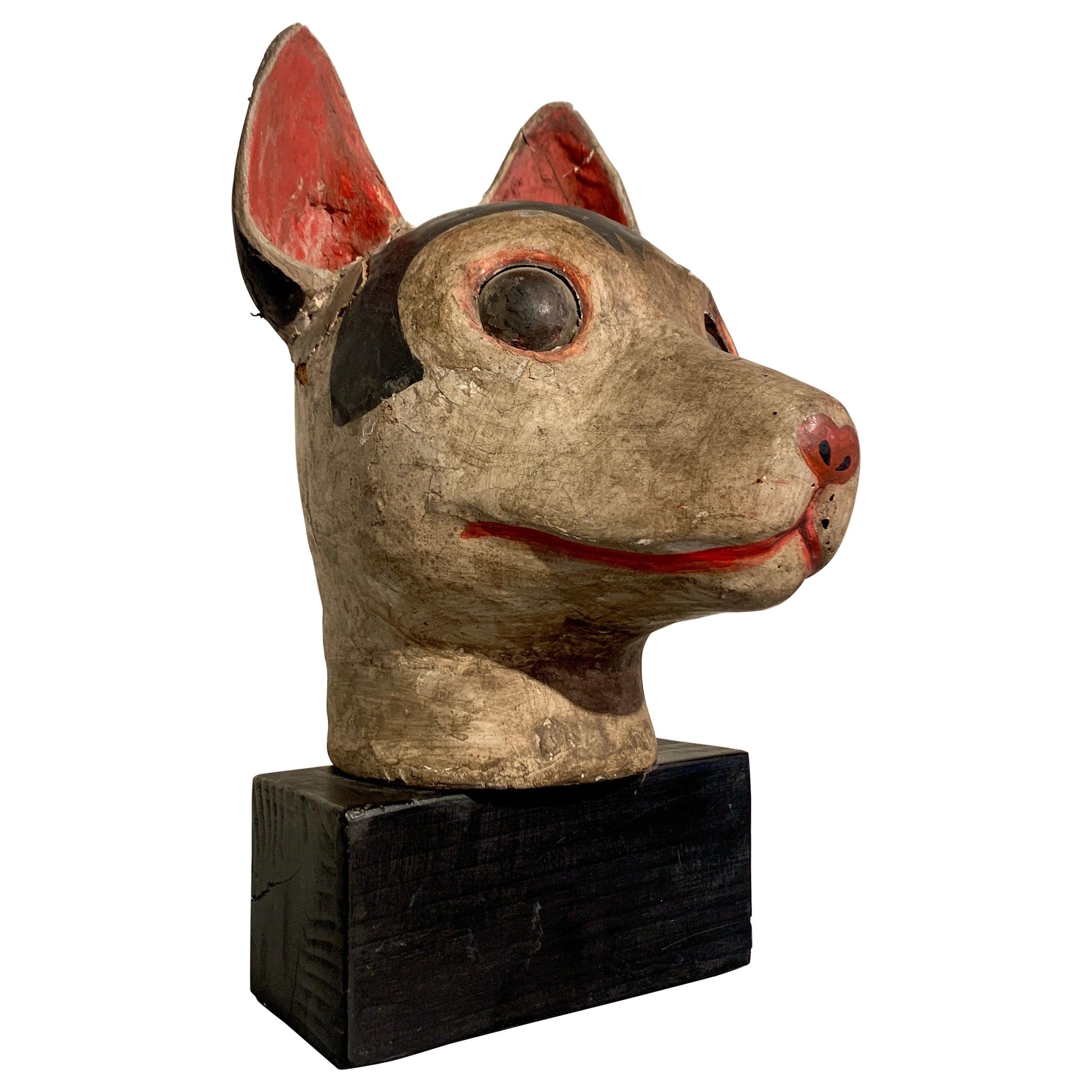 Japanese Mingei Kitsune Fox Head, Carved Wood and Plaster, Meiji Period, Japan