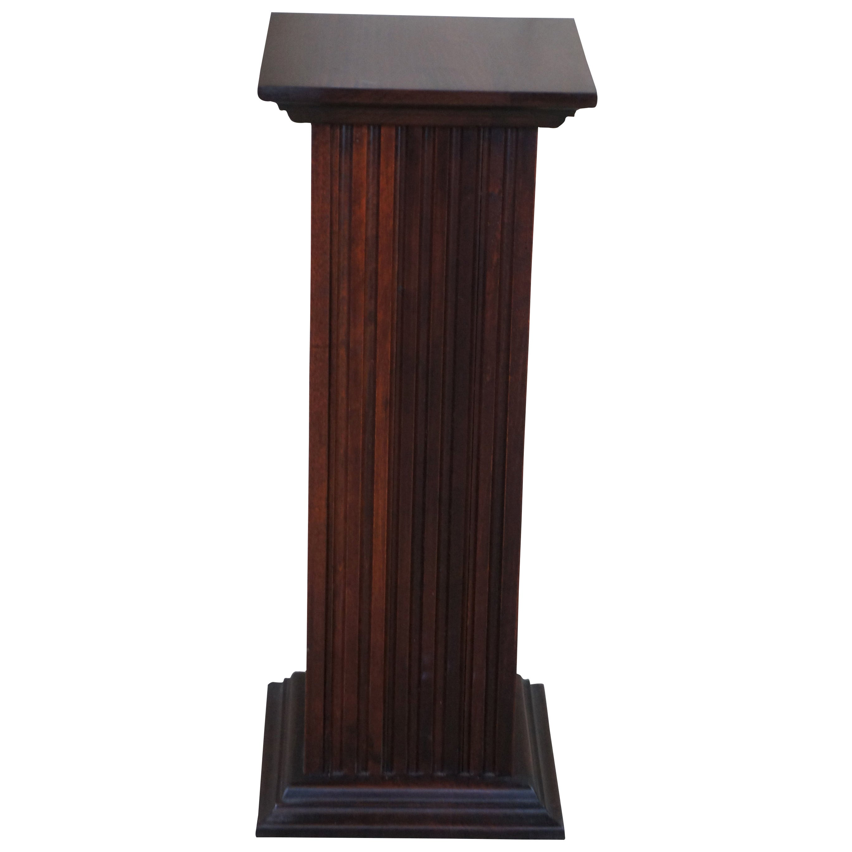 Traditional Mahogany Finished Square Column Pedestal Plant Stand Display