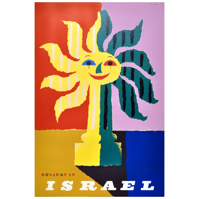 Original Vintage Travel Poster by Abram Games Advertising Holidays in Israel