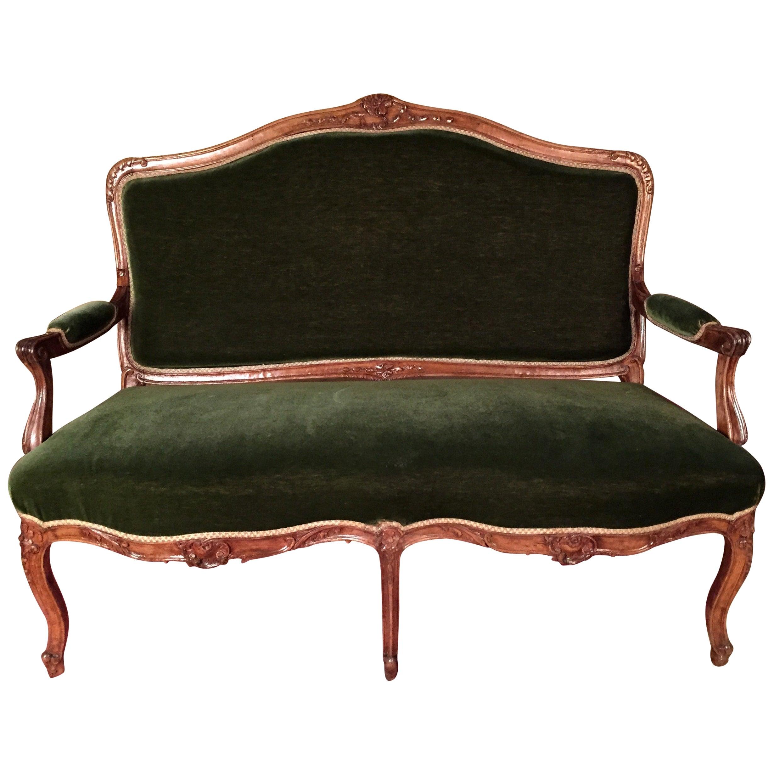 19th Century Louis XV Sofa Kanapee Solid Walnut