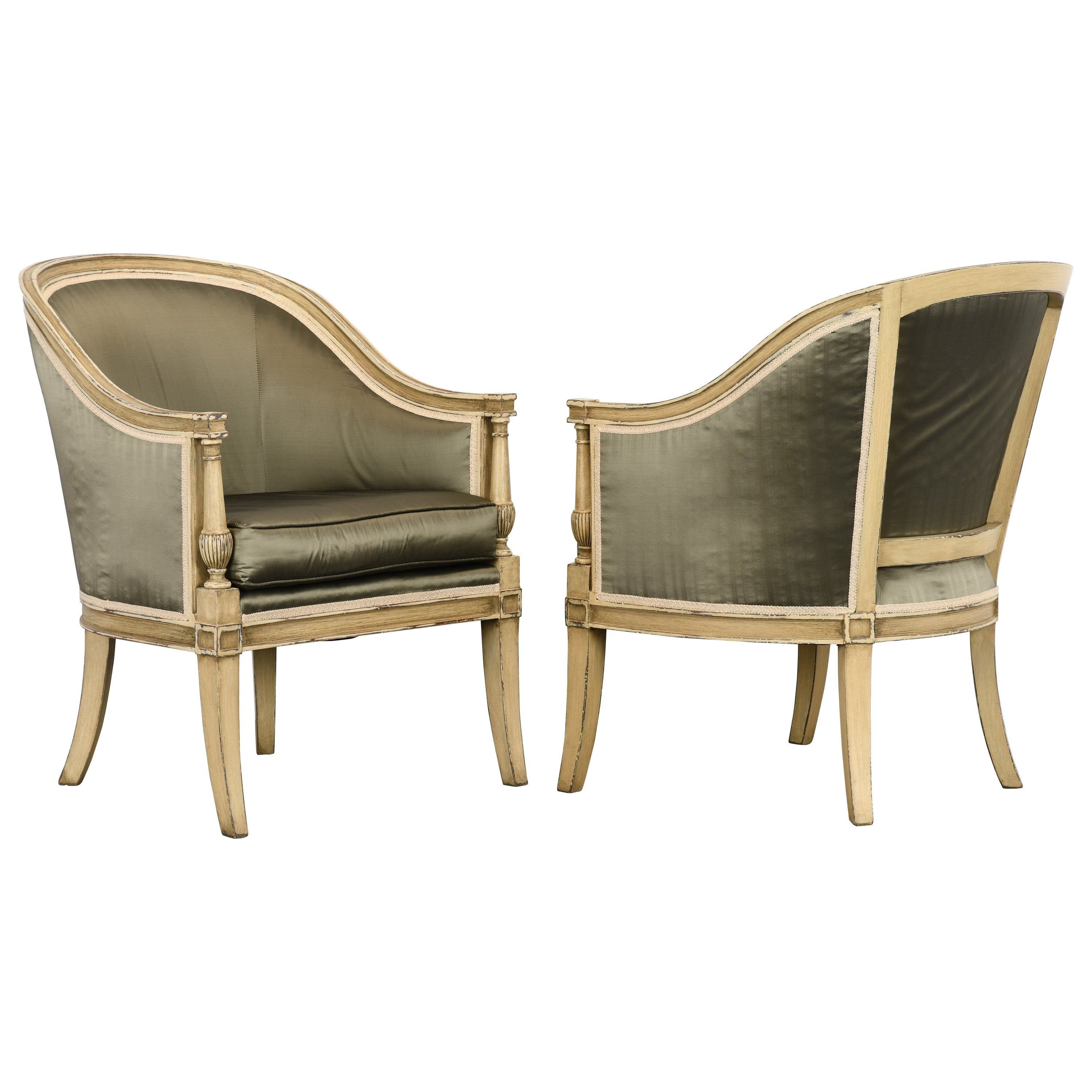 Pair of French Directoire Style Barrel Back Chairs, 1970s