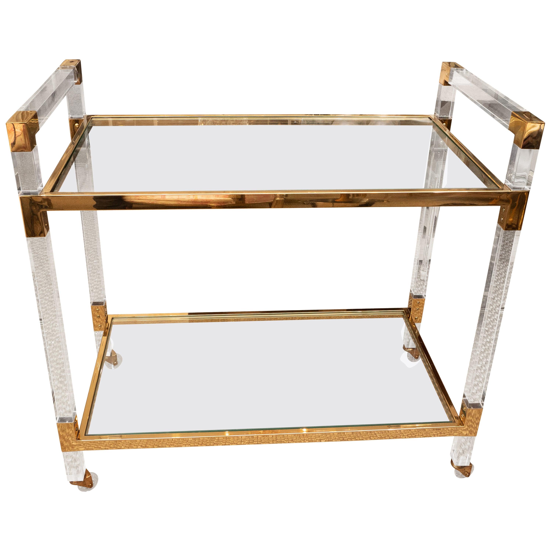 Lucite and Brass Bar Cart