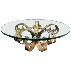 Gilt Iron Coffee Lotus Table with Round Glass Top