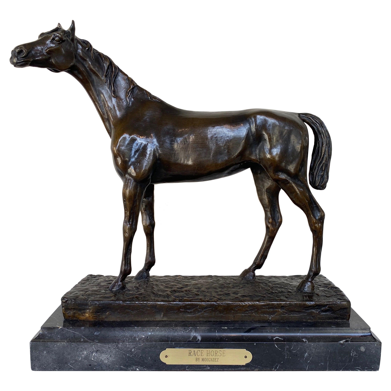 "Jules Moigniez ""Racehorse"", Patinated Bronze Sculpture on Marble Plinth, c. 1880"
