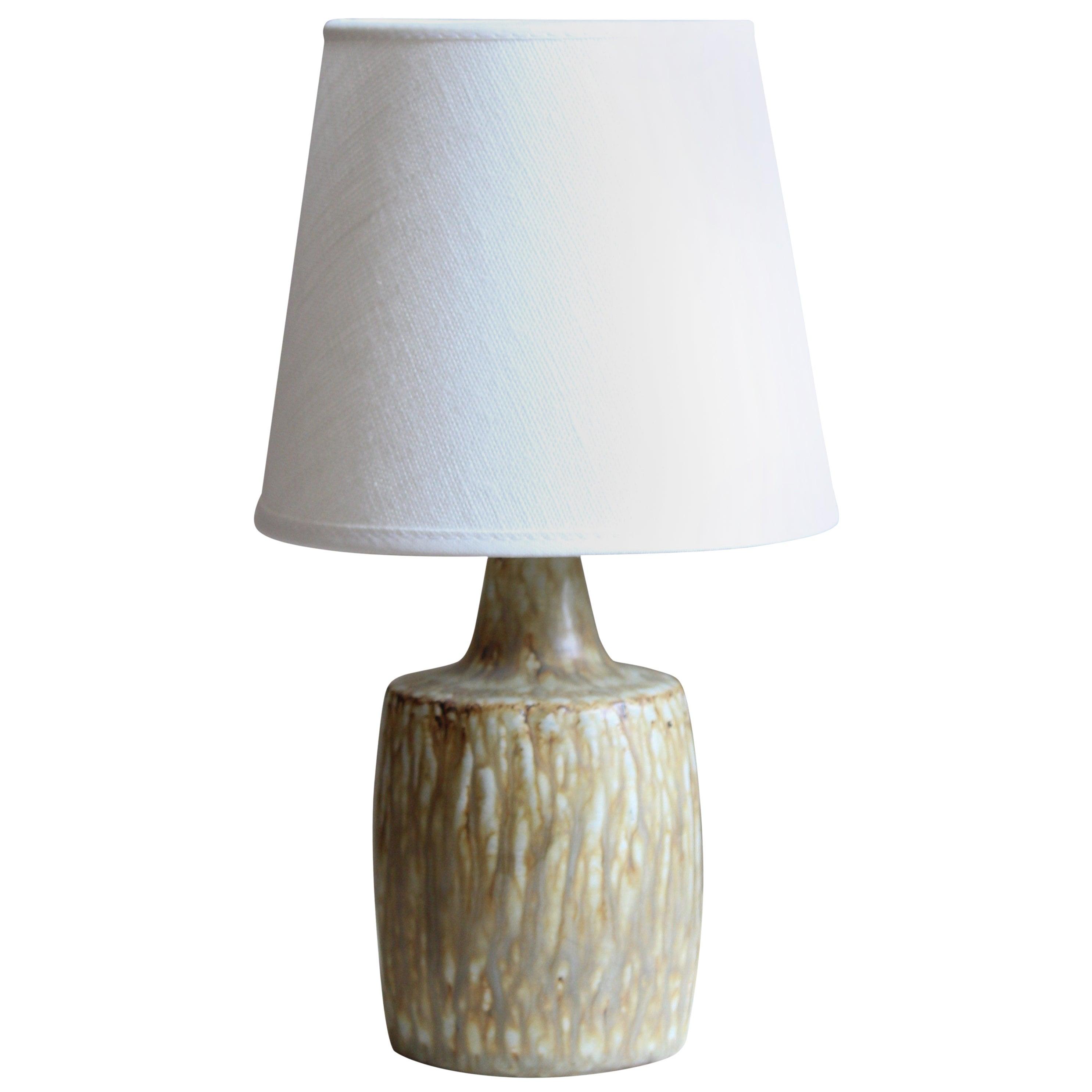 Gunnar Nylund, Small Table Lamp, Glazed Stoneware, Linen Rörstand, Sweden, 1950s